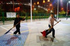 Shenzhen, China: Chinese people practicing martial arts night Stock Image