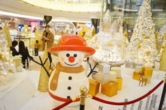 Shenzhen, China: Christmas decoration landscape. Holiday Plaza Shenzhen Nanshan, Christmas decorations landscape, attracting visitors Royalty Free Stock Photography