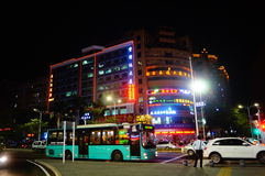 Shenzhen, China: city road traffic in the night landscape Royalty Free Stock Image