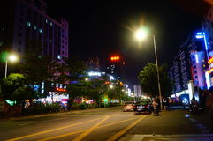 Shenzhen, China: city road traffic in the night landscape Stock Photography