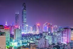 Shenzhen, China. City skyline at twilight Stock Images