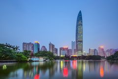 Shenzhen, China. City skyline at twilight Royalty Free Stock Image