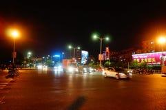 Shenzhen, China: city traffic landscape at night Royalty Free Stock Images