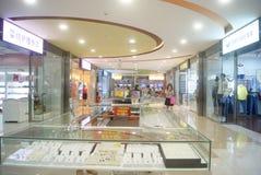 Shenzhen, China: clothing sales store. Shenzhen Baoan Xixiang ganglong cheng garment sales mall interior landscape Royalty Free Stock Photo