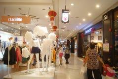 Shenzhen, China: clothing sales store. Shenzhen Baoan Xixiang ganglong cheng garment sales mall interior landscape Royalty Free Stock Image