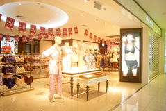 Shenzhen, China: clothing and shoes store Royalty Free Stock Image