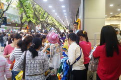 Shenzhen, China: clothing store crowded shopping Stock Image