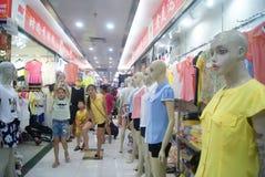 Shenzhen, China: clothing wholesale market Royalty Free Stock Photo