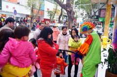 Shenzhen, China: clown promotions Stock Photography