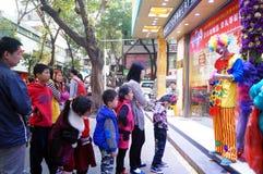 Shenzhen, China: clown promotions Royalty Free Stock Photo