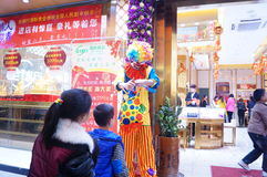 Shenzhen, China: clown promotions Stock Images