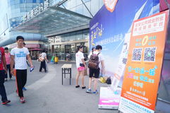 Shenzhen, China: College Students' employment and entrepreneurship service into the community public welfare activities Stock Photo