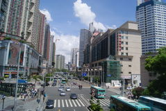 Shenzhen, China: commercial area of road traffic Royalty Free Stock Photography