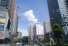 Shenzhen, China: commercial area of road traffic Royalty Free Stock Image