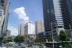 Shenzhen, China: commercial area of road traffic Stock Photos