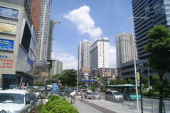 Shenzhen, China: commercial area of road traffic Royalty Free Stock Photo