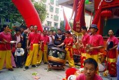 Shenzhen, china: commercial celebration lion dance performance Royalty Free Stock Photos