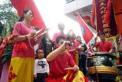 Shenzhen, china: commercial celebration lion dance performance Royalty Free Stock Images