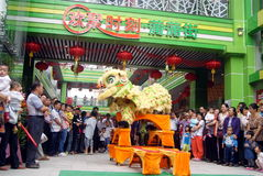 Shenzhen, china: commercial celebration lion dance performance Stock Photography