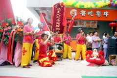 Shenzhen, china: commercial celebration lion dance performance Stock Images