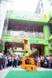 Shenzhen, china: commercial celebration lion dance performance Royalty Free Stock Photography