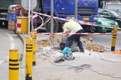Shenzhen, China: construcción de la acera Imágenes de archivo libres de regalías