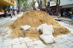 Shenzhen, China: Construction of the drainage gou Stock Photos