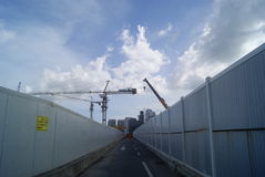 Shenzhen, China: the construction site of the tower crane Stock Photos
