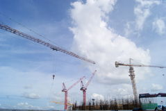 Shenzhen, China: the construction site of the tower crane Stock Images