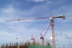 Shenzhen, China: the construction site of the tower crane Royalty Free Stock Photo