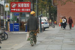 Shenzhen, China: construction workers Royalty Free Stock Images