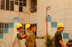 Shenzhen, China: construction workers Stock Image