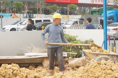 Shenzhen, China: construction workers at the site Royalty Free Stock Image