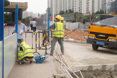 Shenzhen, China: construction workers at the site Stock Photography
