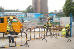 Shenzhen, China: construction workers at the site Royalty Free Stock Photo
