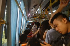 Shenzhen, China: crowded bus Stock Photography