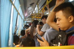 Shenzhen, China: crowded bus Stock Photos
