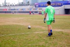 Shenzhen, China: in de aan de gang zijnde voetbalwedstrijd royalty-vrije stock foto