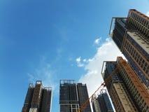 Shenzhen, China: de bouw en voltooiing van woningbouw stock afbeelding