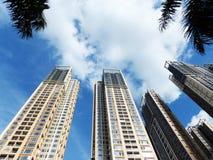 Shenzhen, China: de bouw en voltooiing van woningbouw stock foto