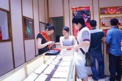 Shenzhen, China: de opslag promotieactiviteiten van jadejuwelen Royalty-vrije Stock Afbeelding
