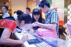 Shenzhen, China: de opslag promotieactiviteiten van jadejuwelen Royalty-vrije Stock Foto
