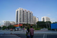 Shenzhen, China: de voorwaarden van het stadsverkeer Stock Foto's