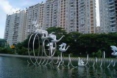 Shenzhen, China: dierlijk beeldhouwwerklandschap Stock Afbeeldingen