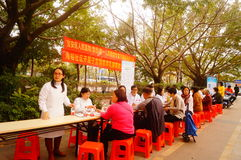 Shenzhen, China: doctors in public hospitals to the community for free medical treatment for residents. Baoan District people`s Hospital of experts and doctors stock photos