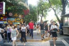Shenzhen, China: Dongmen commercial pedestrian street landscape Stock Photo