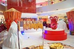 Shenzhen, China: durante a decoração dos shopping do festival de mola Imagem de Stock