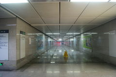 Shenzhen, China: Elevator and tunnel of subway station Royalty Free Stock Image