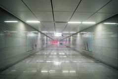 Shenzhen, China: Elevator and tunnel of subway station Royalty Free Stock Photography