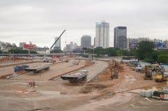 Shenzhen, China: Emplazamiento de la obra del proyecto de la renovación de las aduanas de Nantou Imagen de archivo